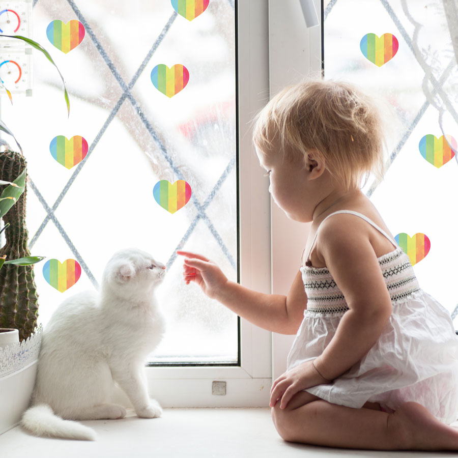 Rainbow stripe heart window stickers perfect for brightening up a child's room