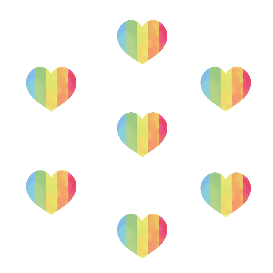 Rainbow stripe heart window stickers on a white background