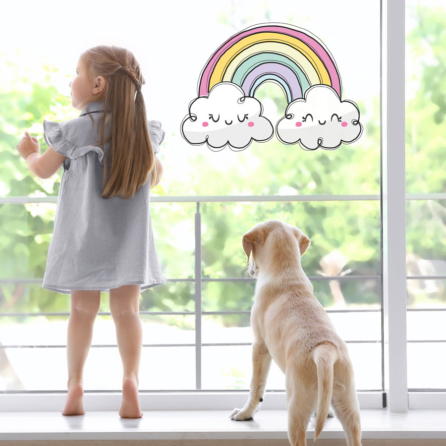 Cute pastel rainbow window sticker (Large size) perfect for brightening up a child's bedroom, nursery or playroom