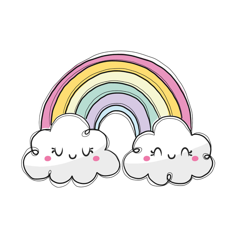 Cute pastel rainbow window sticker (Large size) on a white background