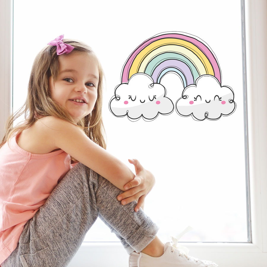 Cute pastel rainbow window sticker (Regular size) perfect for brightening up a child's bedroom, nursery or playroom
