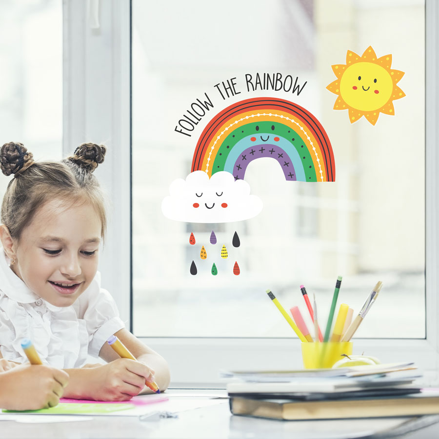 Follow the rainbow window sticker perfect for brightening up your child's room and decorating your home