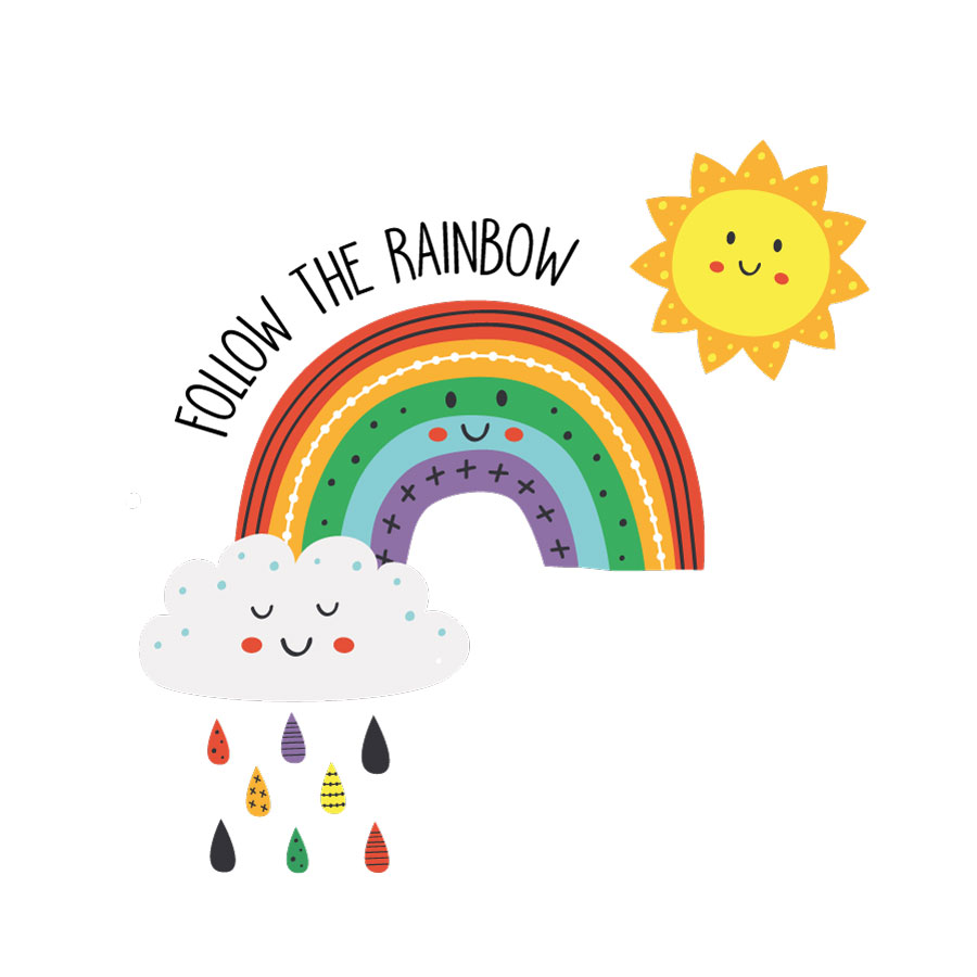 Follow the rainbow window sticker on a white background