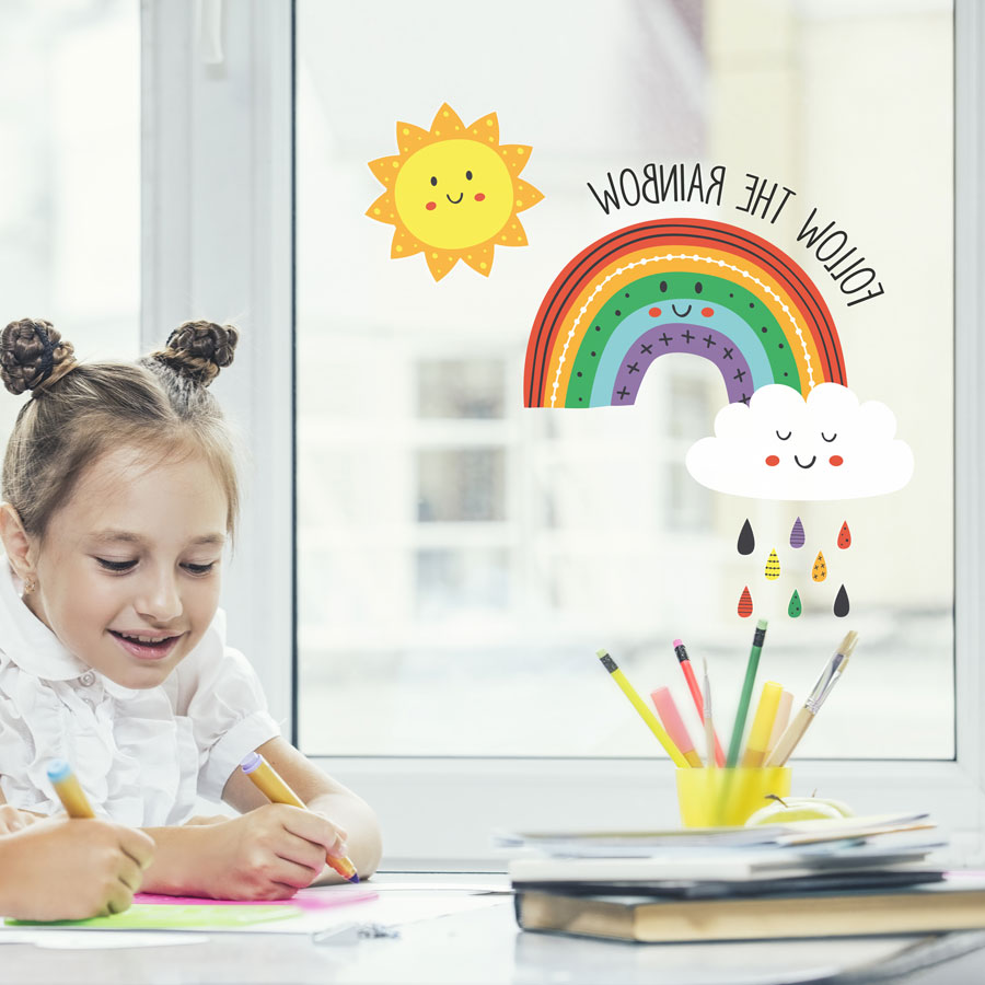 Follow the rainbow window sticker (Reversed) perfect for brightening up your child's room and decorating your home