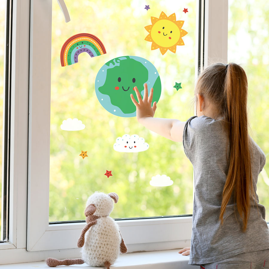 Happy earth and rainbow window stickers perfect for decorating a child's window in a bedroom or nursery