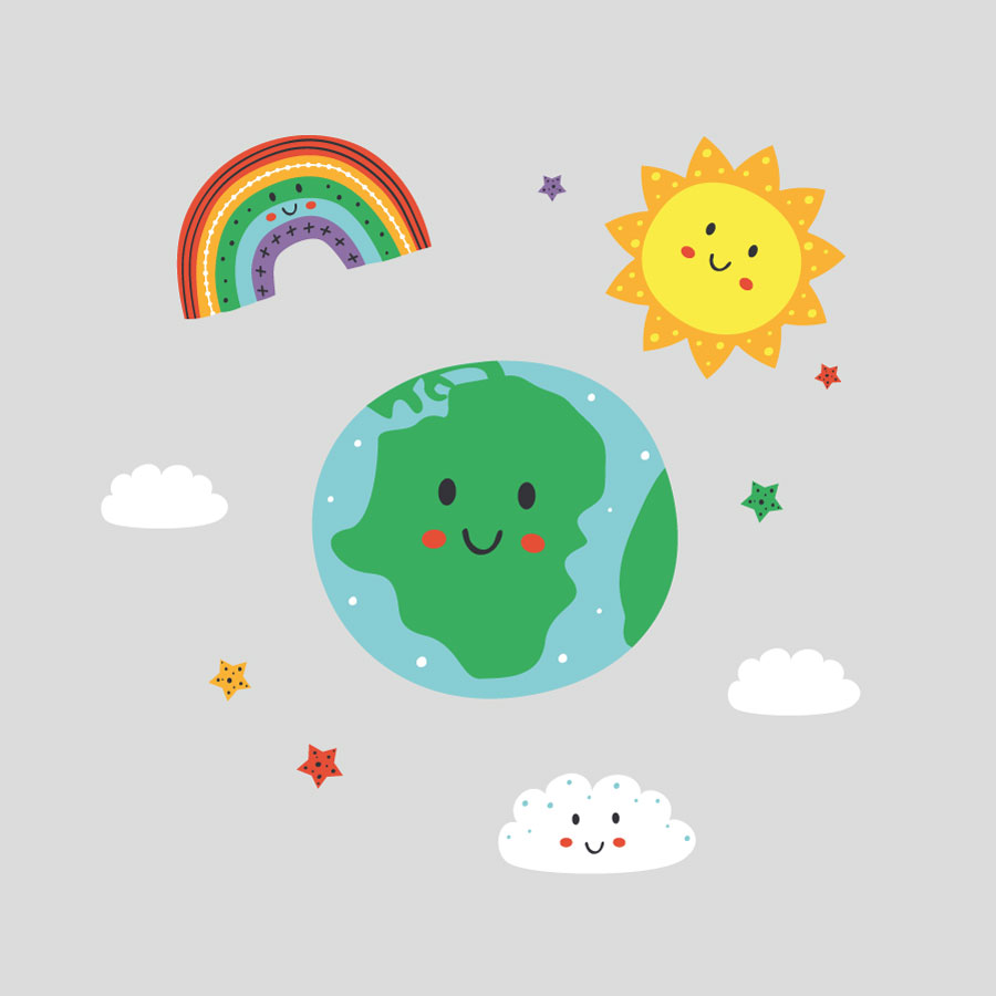 Happy earth and rainbow window stickers on a grey background