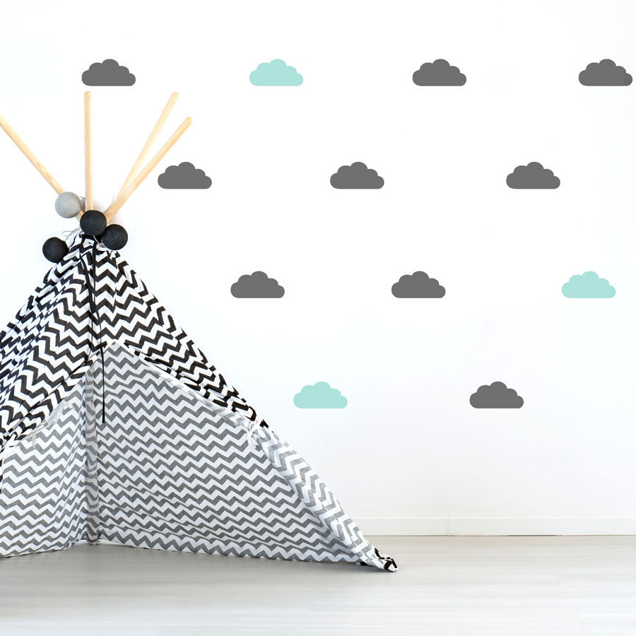 Dark grey and aqua cloud wall stickers | Stickerscape | UK
