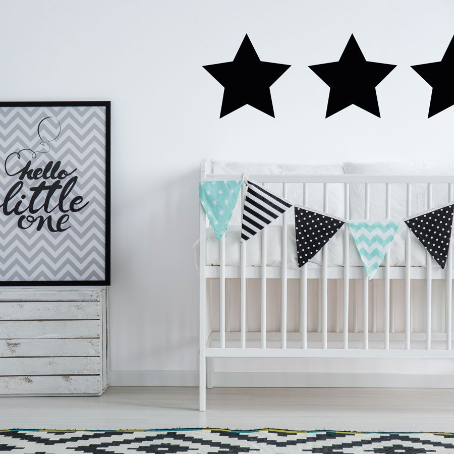 Black giant star wall stickers | Shape wall stickers | Stickerscape | UK