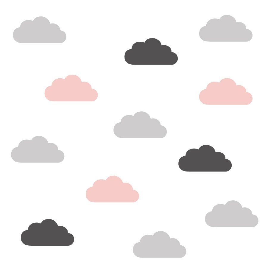 Grey, pink and dark grey cloud wall stickers