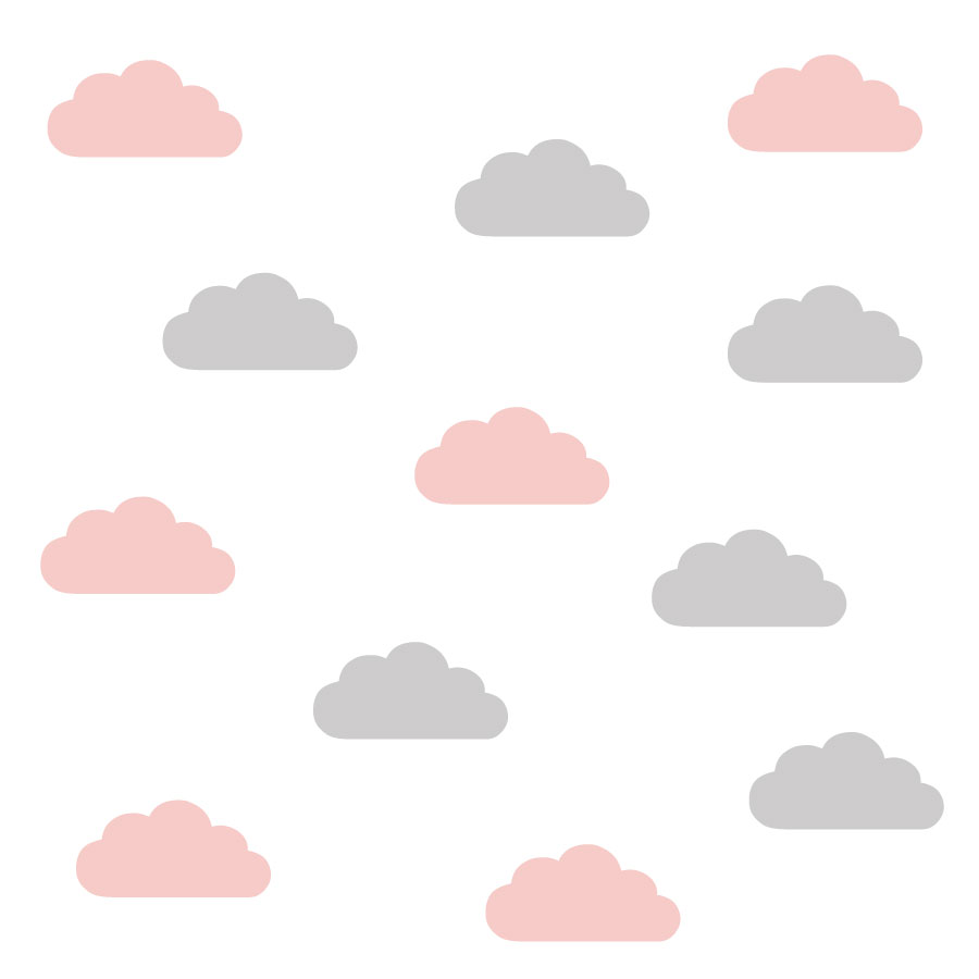 Grey and pink cloud wall stickers