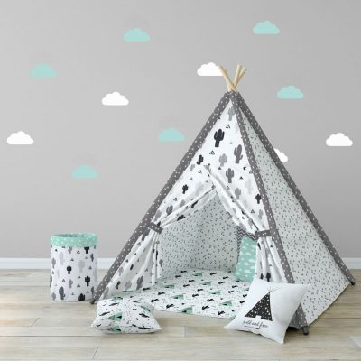 White and aqua cloud wall stickers | Cloud wall stickers | Stickerscape | UK