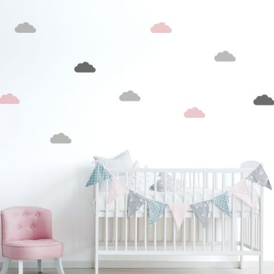 Grey, pink and dark grey cloud wall stickers | Cloud wall stickers | Stickerscape | UK
