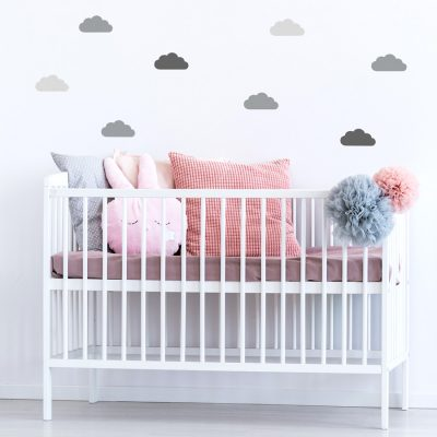 Trio of grey cloud wall stickers | Cloud wall stickers | Stickerscape | UK