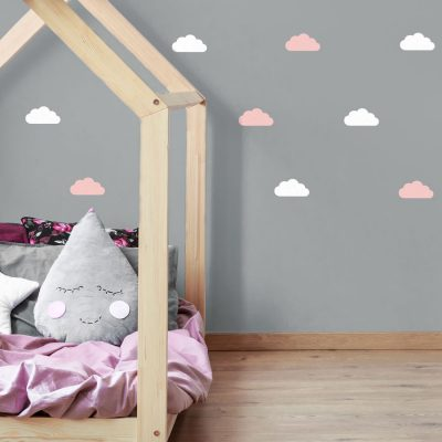 White and pink cloud wall stickers | Cloud wall stickers | Stickerscape | UK