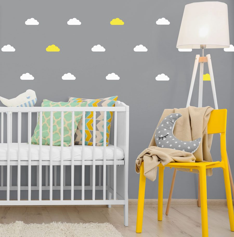 White and yellow cloud wall stickers | Cloud wall stickers | Stickerscape | UK