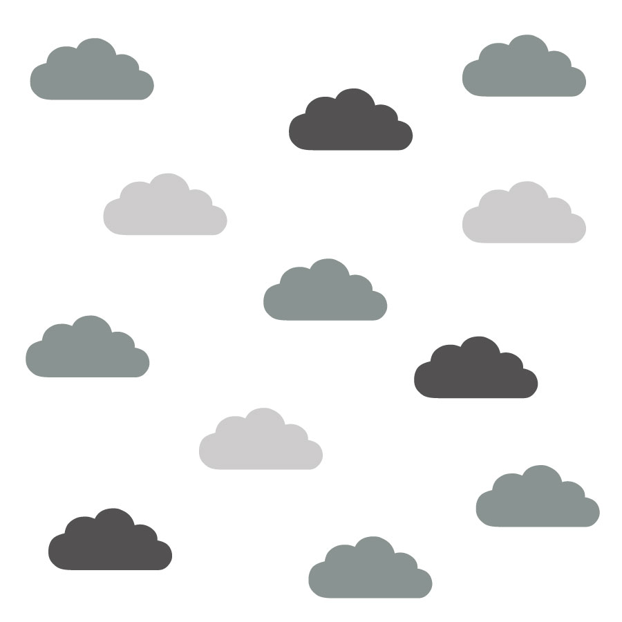 Trio of grey cloud wall stickers