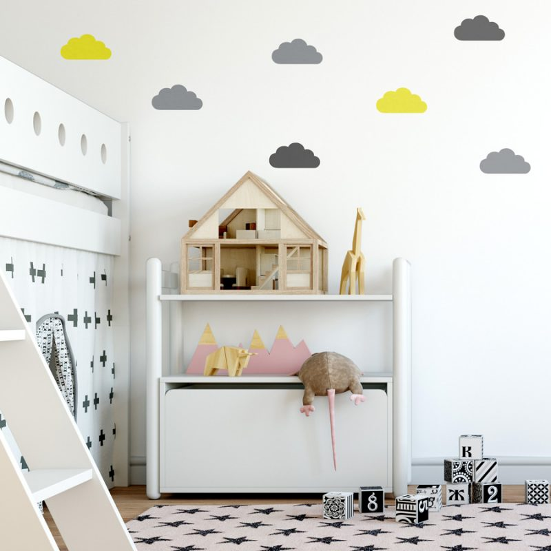 Grey, yellow and dark grey cloud wall stickers | Cloud wall stickers | Stickerscape | UK