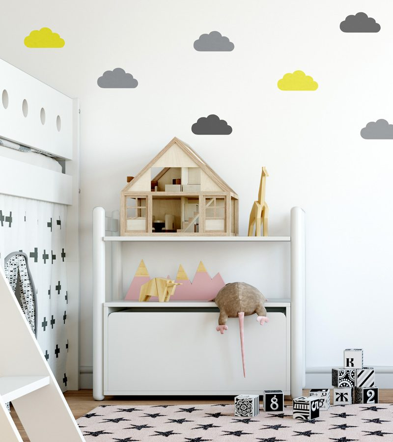 Grey, yellow and dark grey cloud wall stickers   Cloud wall stickers   Stickerscape   UK