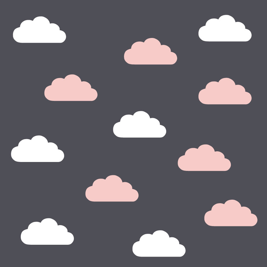 White and pink cloud wall stickers