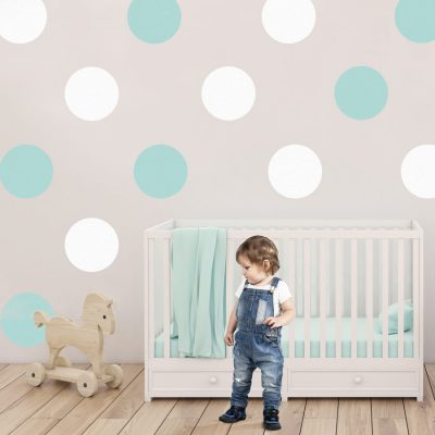 Aqua and white circle wall stickers | Shape wall stickers | Stickerscape | UK