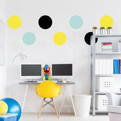 Black, yellow and aqua circle wall stickers | Shape wall stickers | Stickerscape | UK