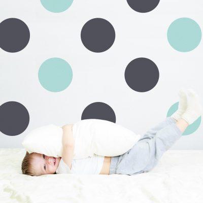 Dark grey and aqua circle wall stickers | Shape wall stickers | Stickerscape | UK