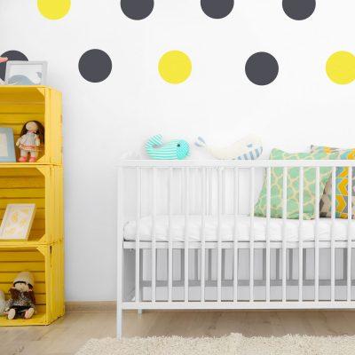 Dark grey and yellow circle wall stickers | Shape wall stickers | Stickerscape | UK