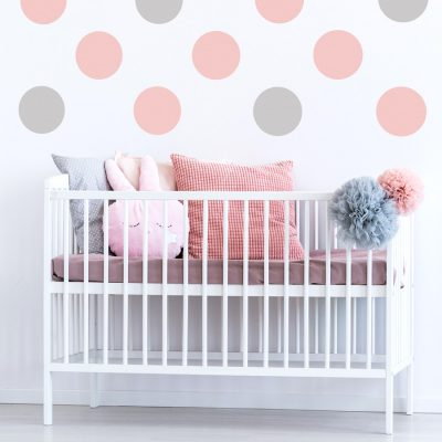 Pink and light grey circle wall stickers | Shape wall stickers | Stickerscape | UK
