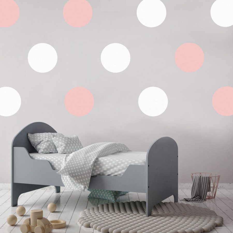 Pink and white circle wall stickers | Shape wall stickers | Stickerscape | UK
