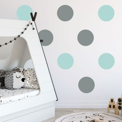 Grey and aqua circle wall stickers | Shape wall stickers | Stickerscape | UK
