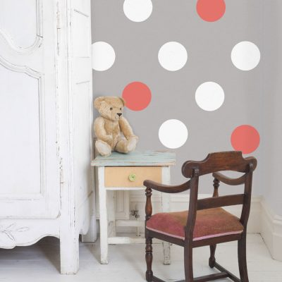 White and coral circle wall stickers | Shape wall stickers | Stickerscape | UK