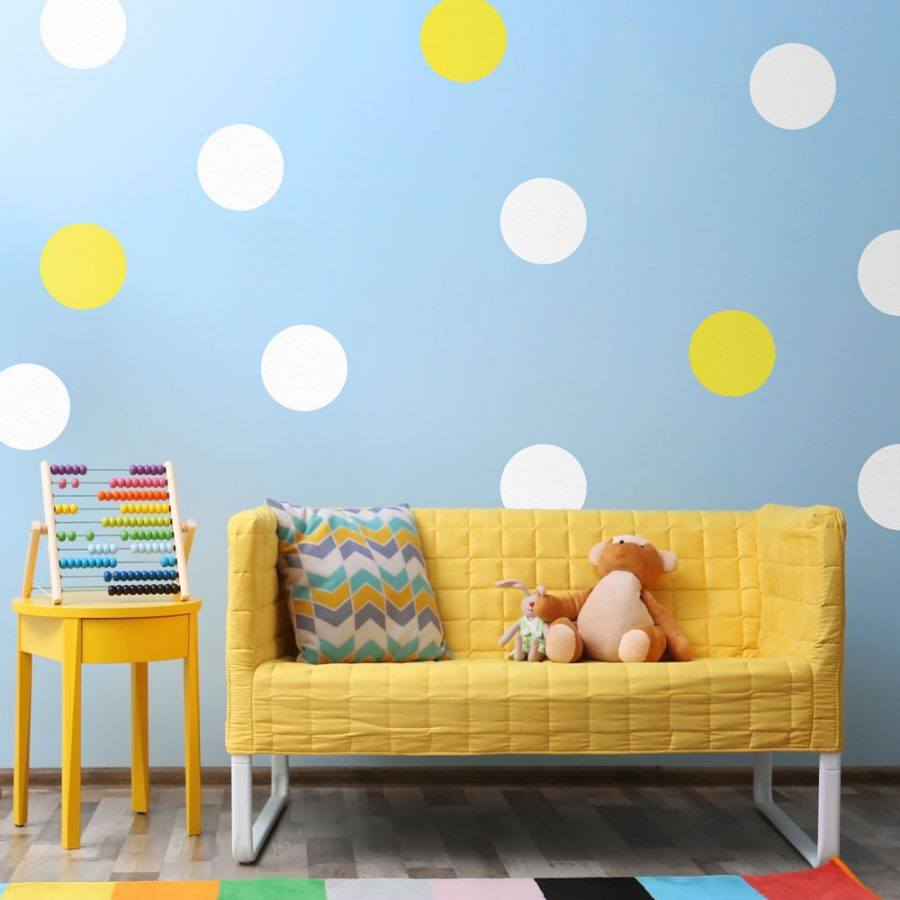 White and yellow circle wall stickers   Shape wall stickers   Stickerscape   UK