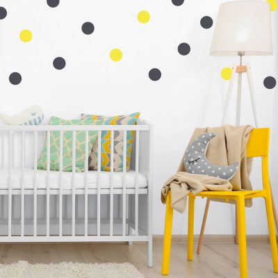 Dark grey and yellow spot wall stickers | Shape wall stickers | Stickerscape | UK