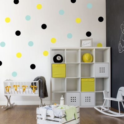 Black, yellow and aqua spot wall stickers | Shape wall stickers | Stickerscape | UK