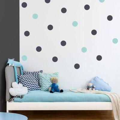 Dark grey and aqua spot wall stickers | Shape wall stickers | Stickerscape | UK
