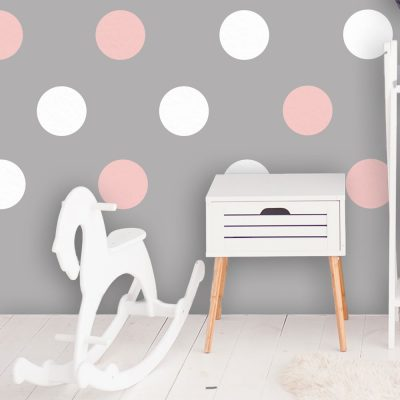 Pink and white spot wall stickers | Shape wall stickers | Stickerscape | UK