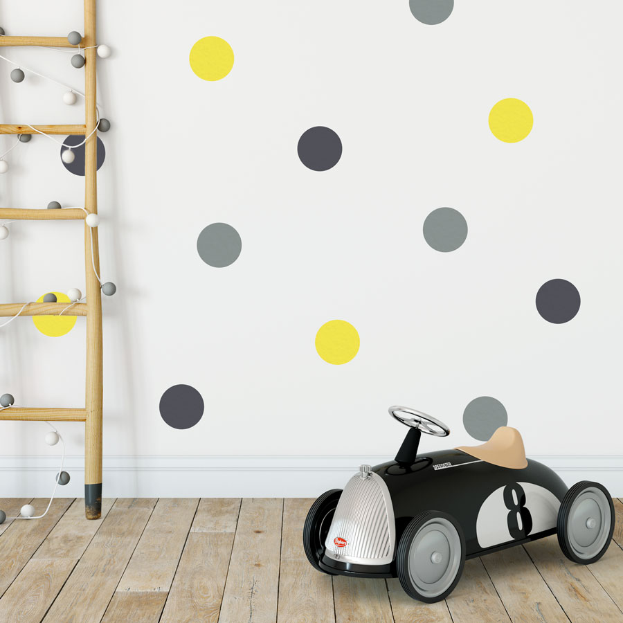 Grey, dark grey and yellow spot wall stickers | Shape wall stickers | Stickerscape | UK
