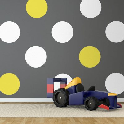 White and yellow spot wall stickers | Shape wall stickers | Stickerscape | UK