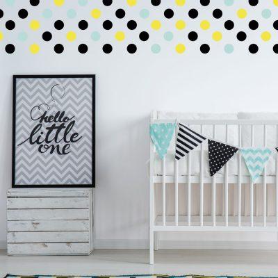 Black, yellow and aqua dot wall stickers | Shape wall stickers | Stickerscape | UK