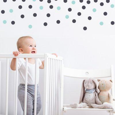 Grey and aqua dot wall stickers | Shape wall stickers | Stickerscape | UK