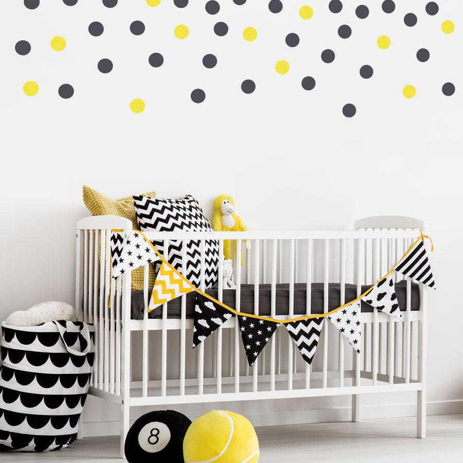 Dark grey and yellow dot wall stickers | Shape wall stickers | Stickerscape | UK