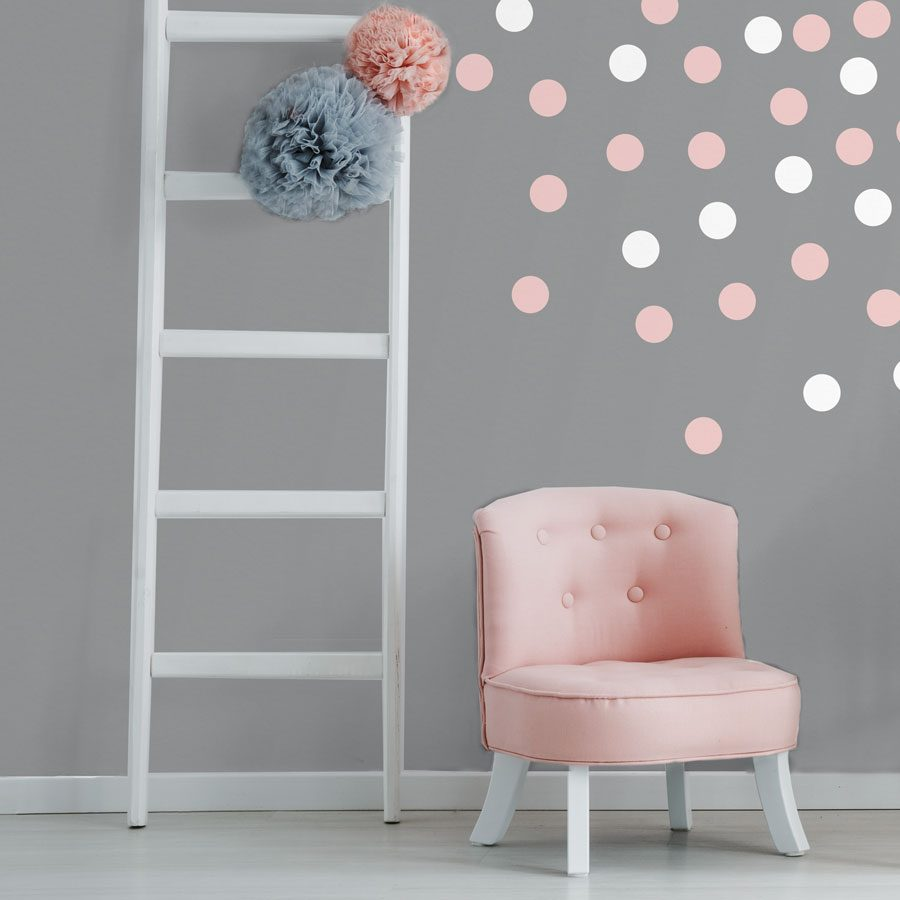 Pink and white dot wall stickers | Shape wall stickers | Stickerscape | UK