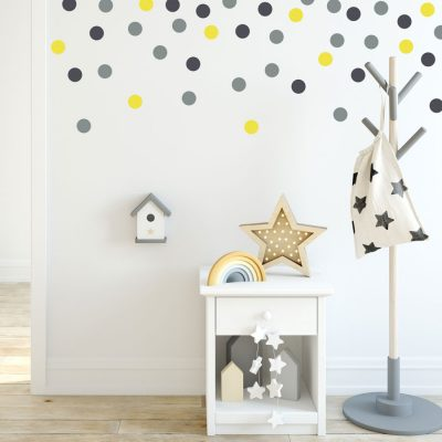 Grey, dark grey and yellow dot wall stickers | Shape wall stickers | Stickerscape | UK