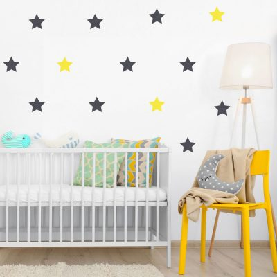 Dark grey and yellow star wall stickers | Shape wall stickers | Stickerscape | UK