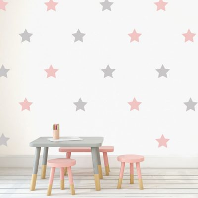 Light grey and pink star wall stickers | Shape wall stickers | Stickerscape | UK