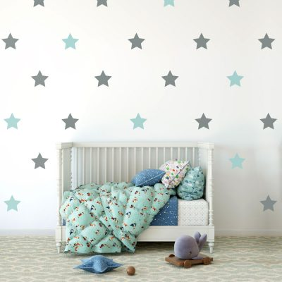 Grey and aqua star wall stickers | Shape wall stickers | Stickerscape | UK