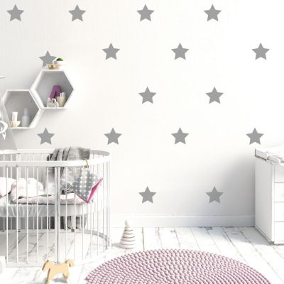 Silver star wall stickers | Star wall stickers | Stickerscape | UK