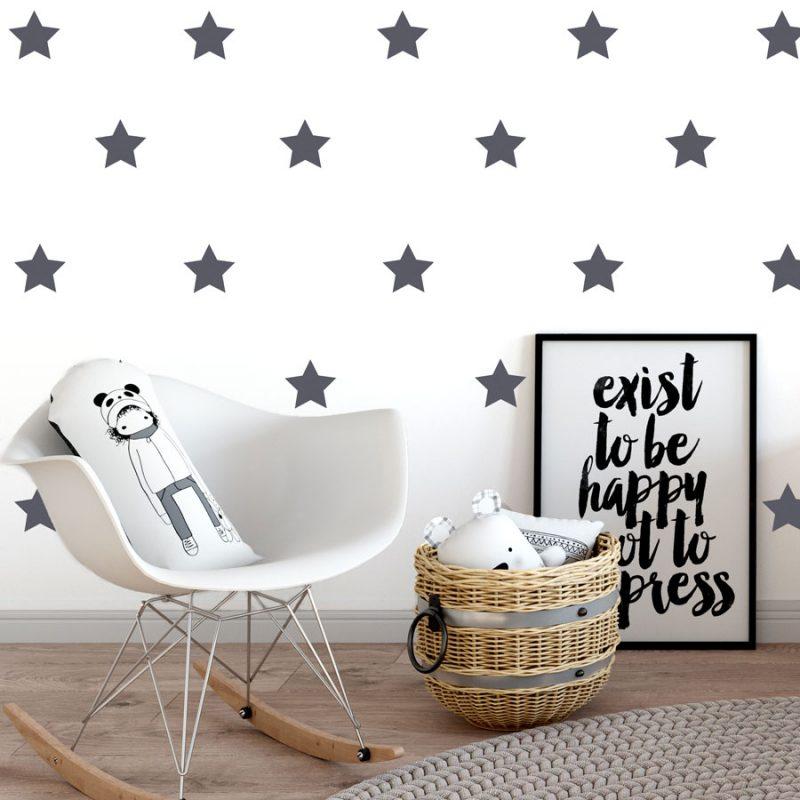 Dark grey star wall stickers (Regular size)