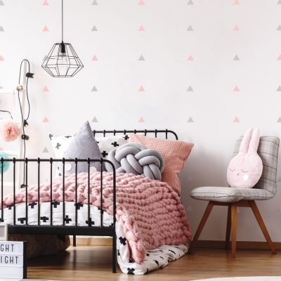Light grey and pink triangle wall stickers | Shape wall stickers | Stickerscape | UK