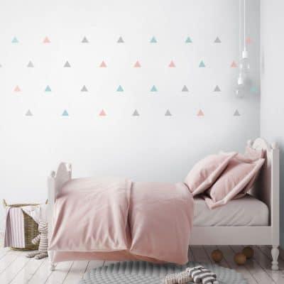 Light grey, pink and aqua triangle wall stickers | Shape wall stickers | Stickerscape | UK